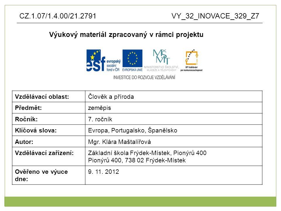 Anotace: výukový materiál vytvořen jako prezentace v aplikaci Microsoft PowerPoint pro využití není nutné připojení na internet křížovku lze využít k opakování, jako testování, ke zkoušení, zadání domácího úkolu pojmy, Portugalsko, Španělsko