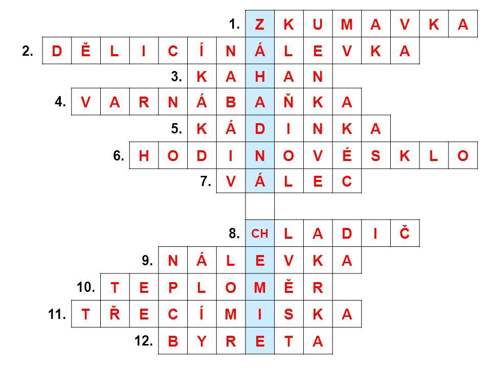 1. ZKUMAVKA 2. DĚLICÍNÁLEVKA 3. KAHAN 4. VARNÁBAŇKA 5. KÁDINKA 6. HODINOVÉSKLO 7. VÁLEC 8. CH LADIČ 9. NÁLEVKA 10. TEPLOMĚR 11. TŘECÍMISKA 12. BYRETA