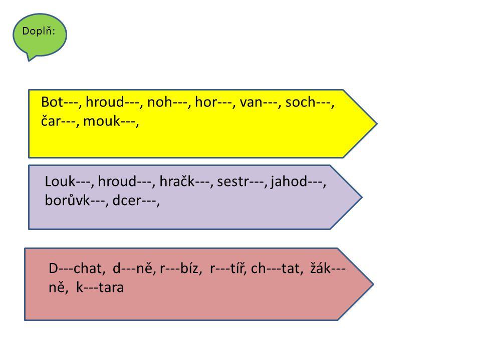 y r n ý o y ž tr ý Piš do křížovky slova opačného významu: n t d r k ch h e tvrý ál y ho y taky ruce hloupý studený pomalá měkký vykat muži Tvrdé souhlásky jsou: _h,ch,k,r,d,t,n,________ Řešení: