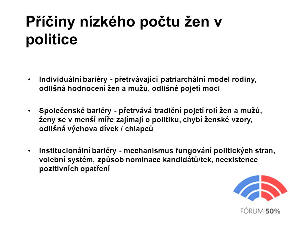 Příčiny nízkého počtu žen v politice Individuální bariéry - přetrvávající patriarchální model rodiny, odlišná hodnocení žen a mužů, odlišné pojetí moci Společenské bariéry - přetrvává tradiční pojetí rolí žen a mužů, ženy se v menší míře zajímají o politiku, chybí ženské vzory, odlišná výchova dívek / chlapců Institucionální bariéry - mechanismus fungování politických stran, volební systém, způsob nominace kandidátů/tek, neexistence pozitivních opatření