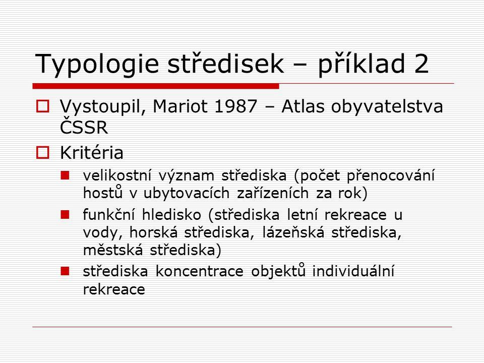 Typologie středisek – příklad 2  Vystoupil, Mariot 1987 – Atlas obyvatelstva ČSSR  Kritéria velikostní význam střediska (počet přenocování hostů v u