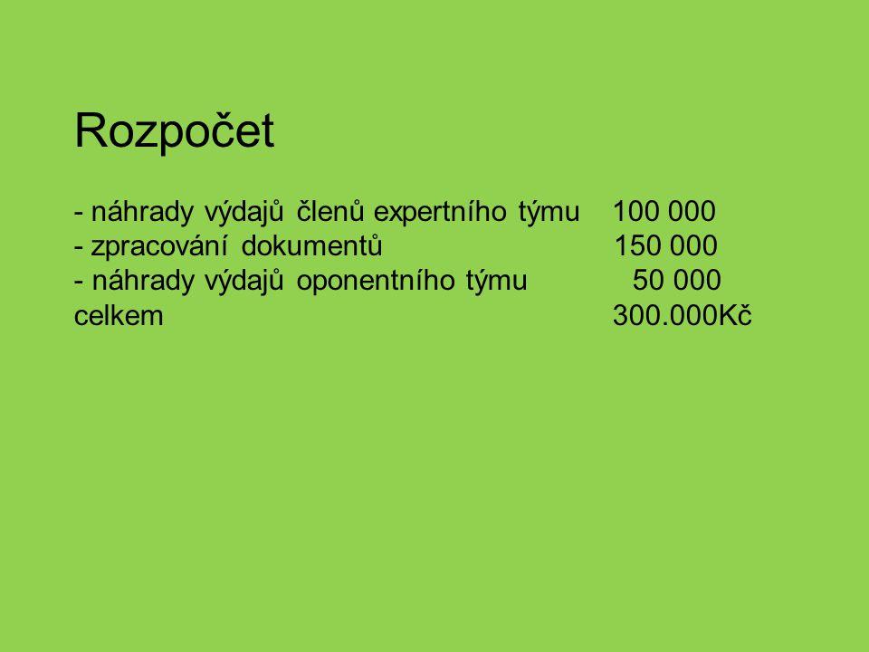 Rozpočet - náhrady výdajů členů expertního týmu 100 000 - zpracování dokumentů 150 000 - náhrady výdajů oponentního týmu 50 000 celkem 300.000Kč