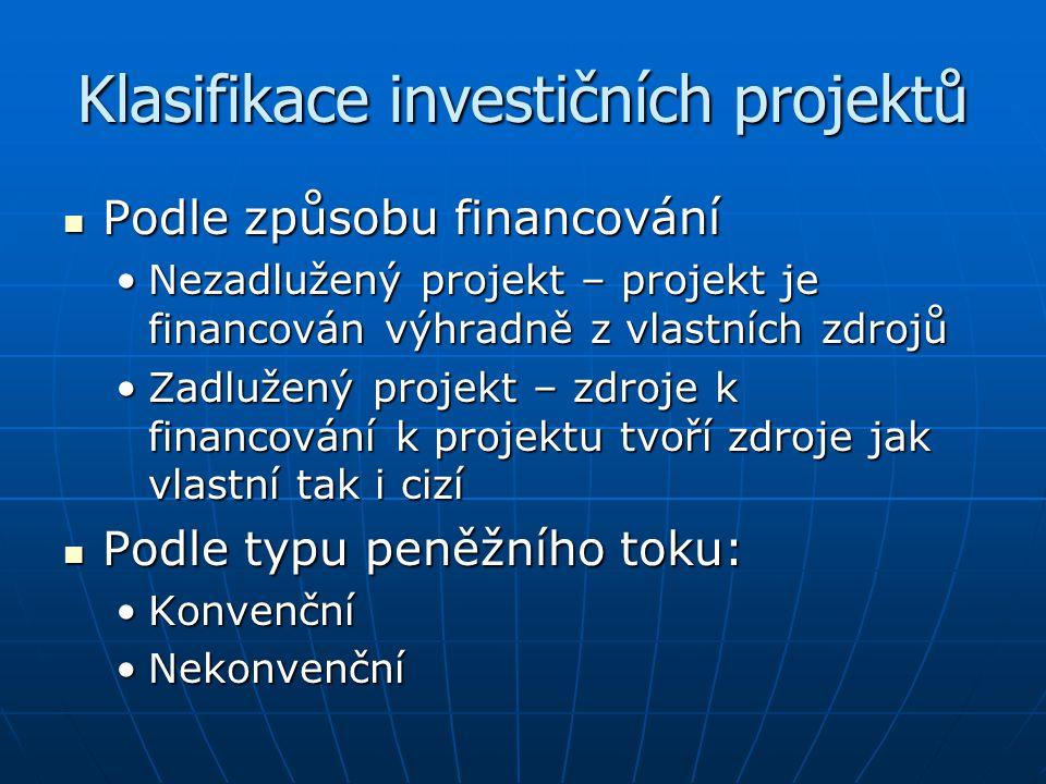 Klasifikace investičních projektů Podle způsobu financování Podle způsobu financování Nezadlužený projekt – projekt je financován výhradně z vlastních