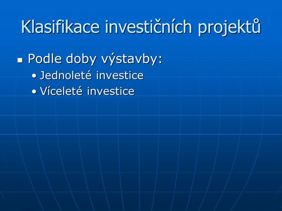 Klasifikace investičních projektů Podle doby výstavby: Podle doby výstavby: Jednoleté investiceJednoleté investice Víceleté investiceVíceleté investic