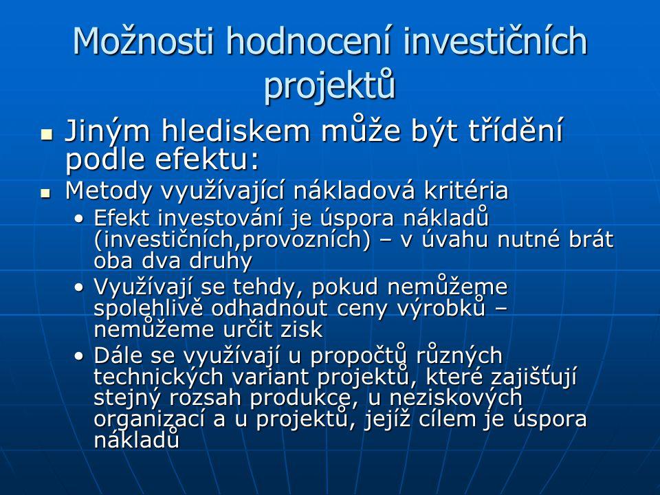 Možnosti hodnocení investičních projektů Jiným hlediskem může být třídění podle efektu: Jiným hlediskem může být třídění podle efektu: Metody využívaj