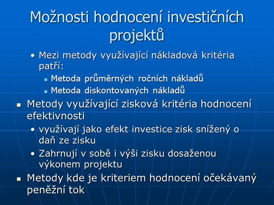 Možnosti hodnocení investičních projektů Mezi metody využívající nákladová kritéria patří:Mezi metody využívající nákladová kritéria patří: Metoda prů