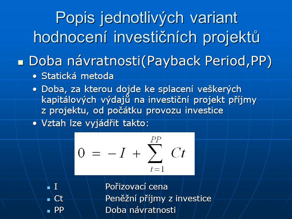 Popis jednotlivých variant hodnocení investičních projektů Doba návratnosti(Payback Period,PP) Doba návratnosti(Payback Period,PP) Statická metodaStat