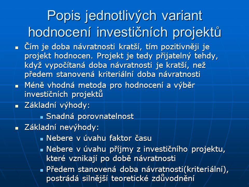 Popis jednotlivých variant hodnocení investičních projektů Čím je doba návratnosti kratší, tím pozitivněji je projekt hodnocen. Projekt je tedy přijat
