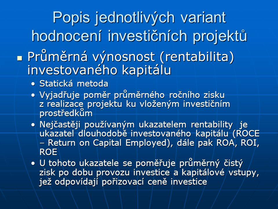 Popis jednotlivých variant hodnocení investičních projektů Průměrná výnosnost (rentabilita) investovaného kapitálu Průměrná výnosnost (rentabilita) in