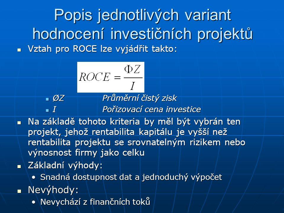 Popis jednotlivých variant hodnocení investičních projektů Vztah pro ROCE lze vyjádřit takto: Vztah pro ROCE lze vyjádřit takto: ØZPrůměrní čistý zisk