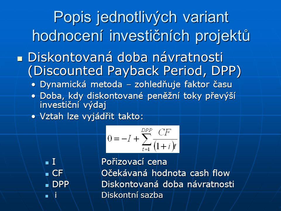 Popis jednotlivých variant hodnocení investičních projektů Diskontovaná doba návratnosti (Discounted Payback Period, DPP) Diskontovaná doba návratnost