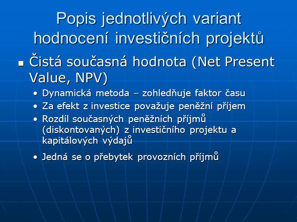 Popis jednotlivých variant hodnocení investičních projektů Čistá současná hodnota (Net Present Value, NPV) Čistá současná hodnota (Net Present Value,
