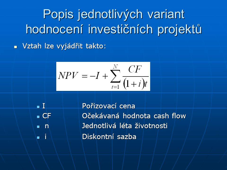 Popis jednotlivých variant hodnocení investičních projektů Vztah lze vyjádřit takto: Vztah lze vyjádřit takto: IPořizovací cena IPořizovací cena CFOče