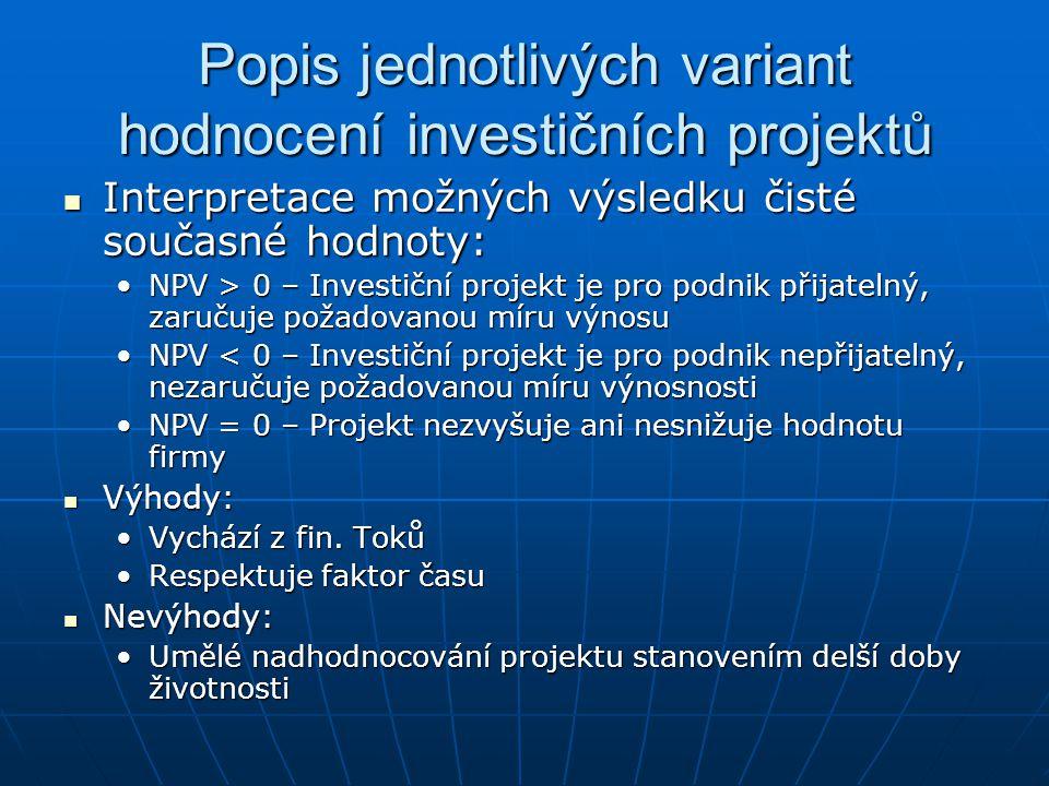 Popis jednotlivých variant hodnocení investičních projektů Interpretace možných výsledku čisté současné hodnoty: Interpretace možných výsledku čisté s