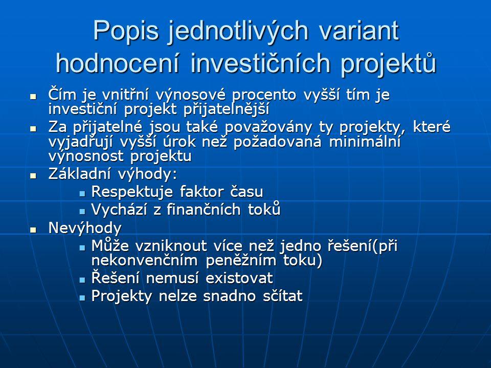 Popis jednotlivých variant hodnocení investičních projektů Čím je vnitřní výnosové procento vyšší tím je investiční projekt přijatelnější Čím je vnitř