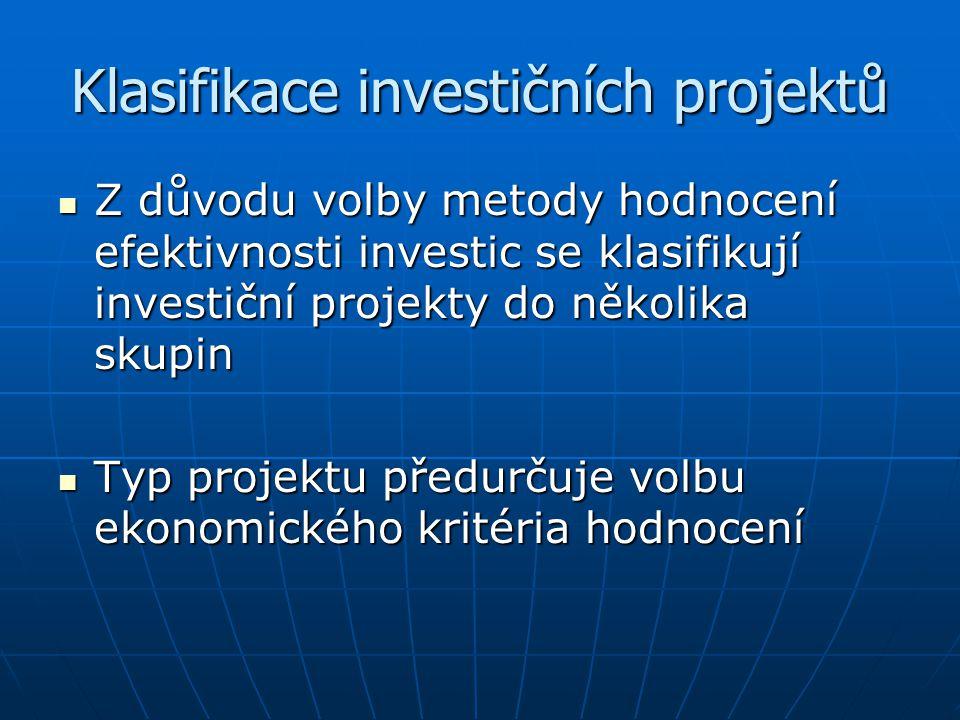 Klasifikace investičních projektů Z důvodu volby metody hodnocení efektivnosti investic se klasifikují investiční projekty do několika skupin Z důvodu