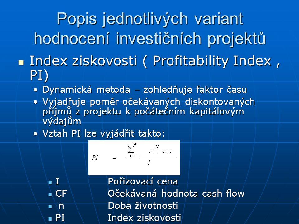 Popis jednotlivých variant hodnocení investičních projektů Index ziskovosti ( Profitability Index, PI) Index ziskovosti ( Profitability Index, PI) Dyn