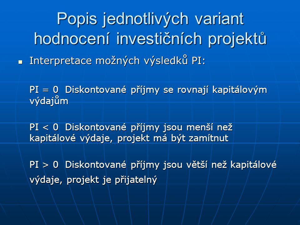 Popis jednotlivých variant hodnocení investičních projektů Interpretace možných výsledků PI: Interpretace možných výsledků PI: PI = 0 Diskontované pří