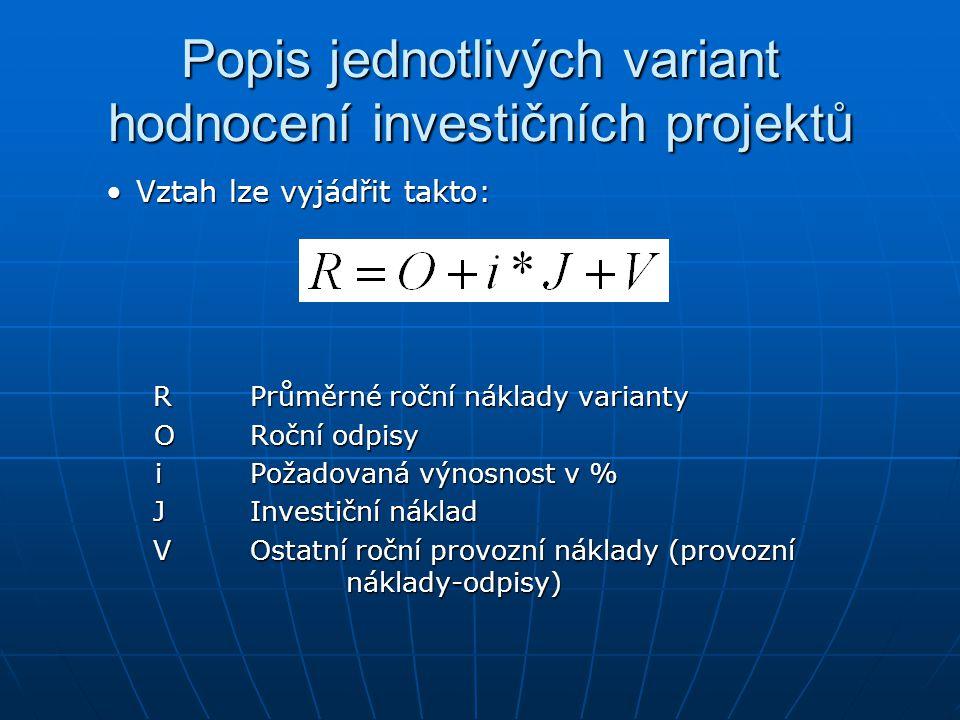 Popis jednotlivých variant hodnocení investičních projektů Vztah lze vyjádřit takto:Vztah lze vyjádřit takto: RPrůměrné roční náklady varianty RPrůměr