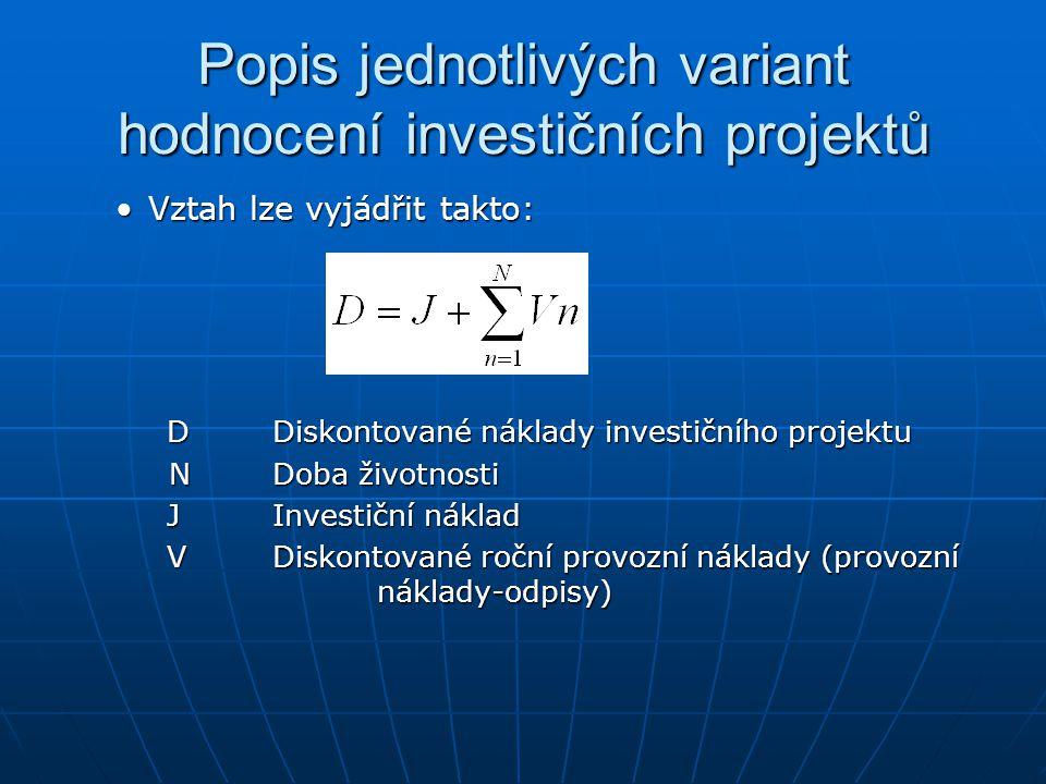 Popis jednotlivých variant hodnocení investičních projektů Vztah lze vyjádřit takto:Vztah lze vyjádřit takto: DDiskontované náklady investičního proje