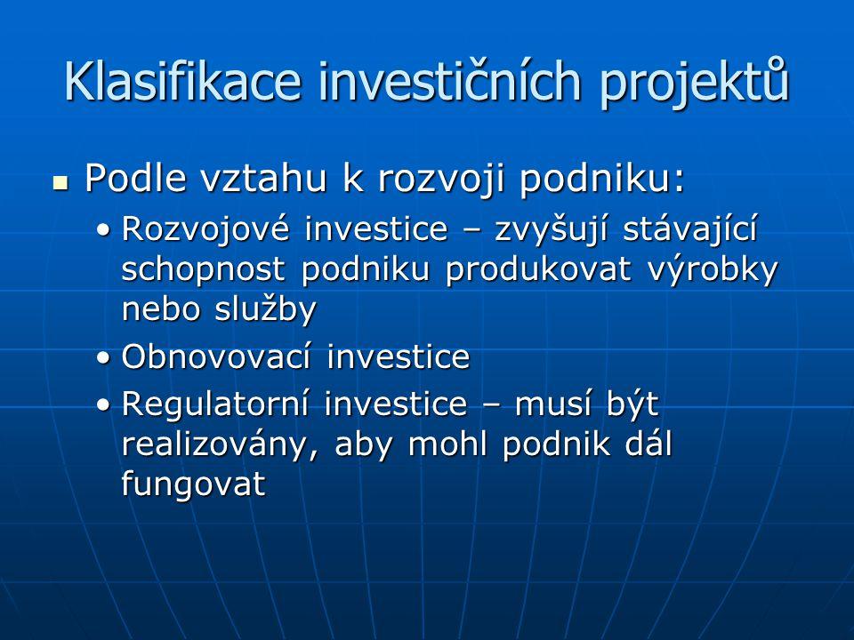 Klasifikace investičních projektů Podle vztahu k rozvoji podniku: Podle vztahu k rozvoji podniku: Rozvojové investice – zvyšují stávající schopnost po