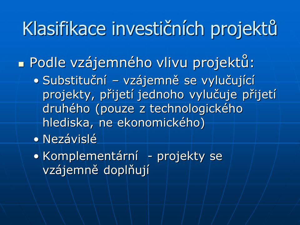Klasifikace investičních projektů Podle vzájemného vlivu projektů: Podle vzájemného vlivu projektů: Substituční – vzájemně se vylučující projekty, při