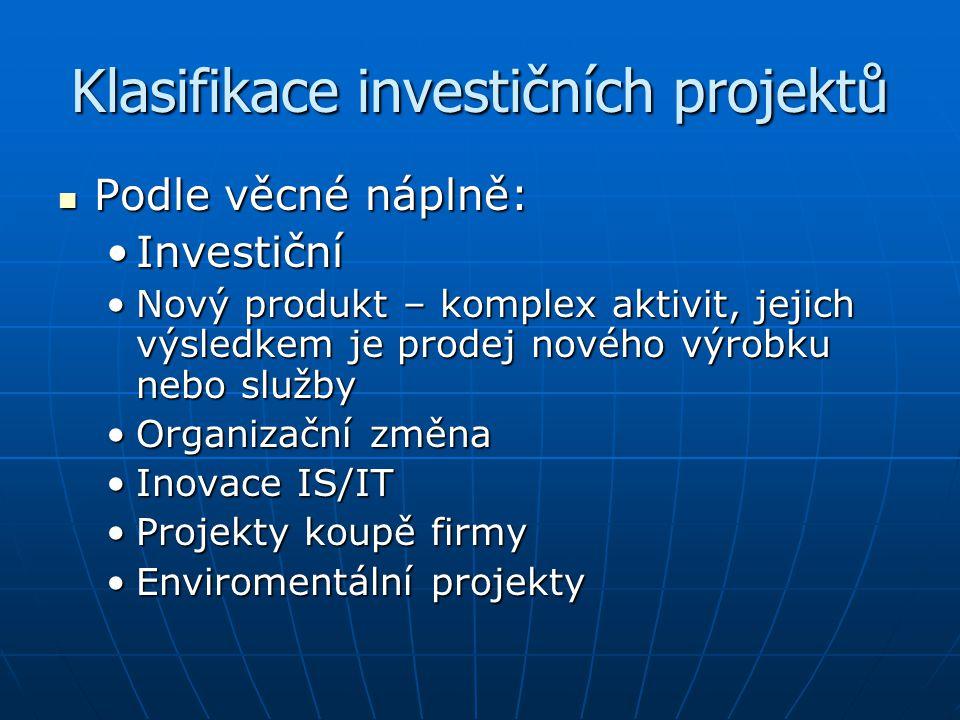 Klasifikace investičních projektů Podle věcné náplně: Podle věcné náplně: InvestičníInvestiční Nový produkt – komplex aktivit, jejich výsledkem je pro