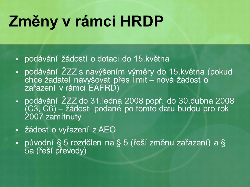 Změny v rámci HRDP  podávání žádostí o dotaci do 15.května  podávání ŽZZ s navýšením výměry do 15.května (pokud chce žadatel navyšovat přes limit – nová žádost o zařazení v rámci EAFRD)  podávání ŽZZ do 31.ledna 2008 popř.