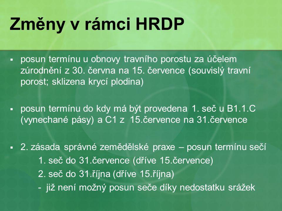 Změny v rámci HRDP  posun termínu u obnovy travního porostu za účelem zúrodnění z 30.