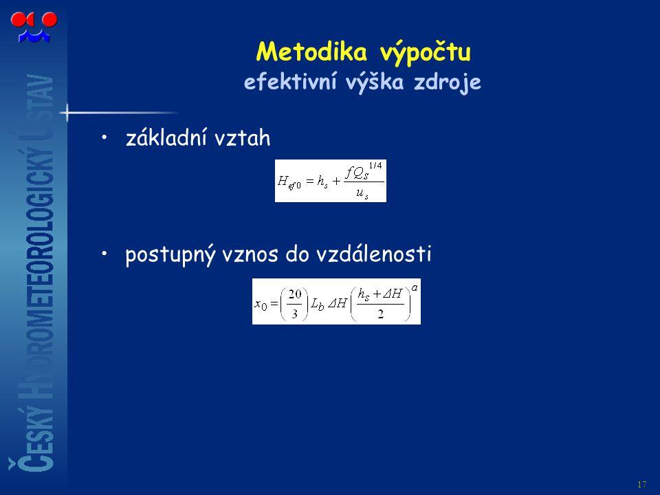 17 Metodika výpočtu efektivní výška zdroje základní vztah postupný vznos do vzdálenosti