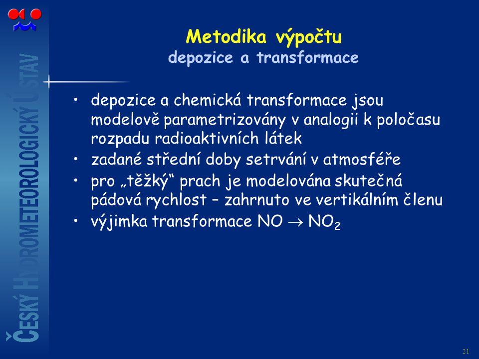 21 Metodika výpočtu depozice a transformace depozice a chemická transformace jsou modelově parametrizovány v analogii k poločasu rozpadu radioaktivníc