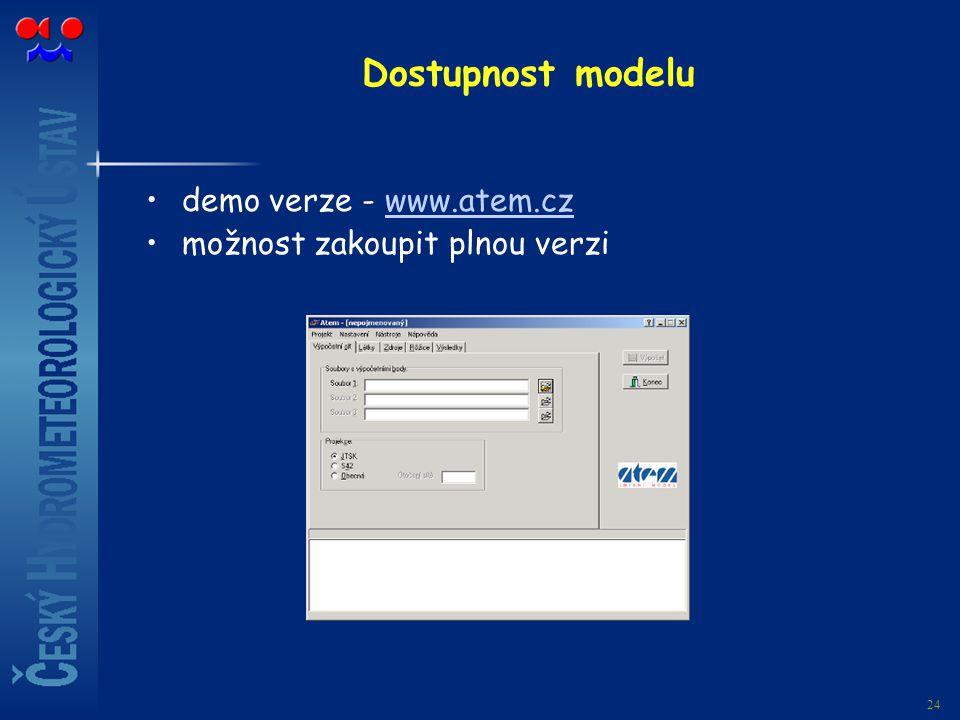24 Dostupnost modelu demo verze - www.atem.czwww.atem.cz možnost zakoupit plnou verzi