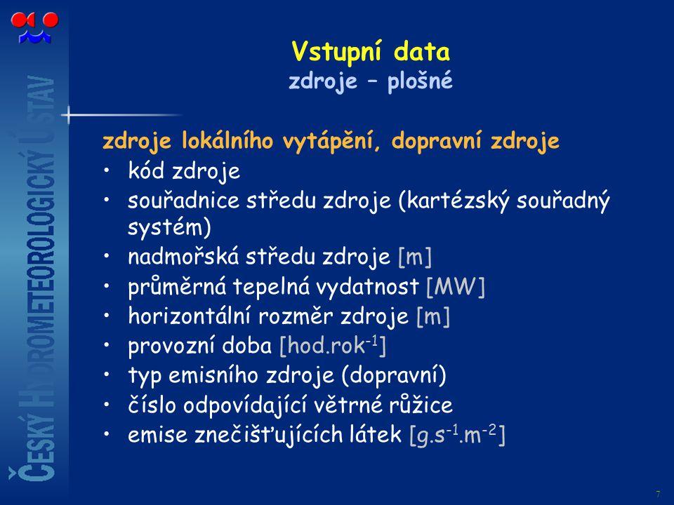 7 Vstupní data zdroje – plošné zdroje lokálního vytápění, dopravní zdroje kód zdroje souřadnice středu zdroje (kartézský souřadný systém) nadmořská st