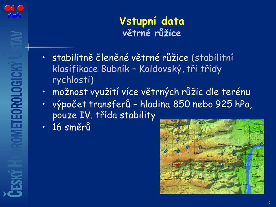 9 Vstupní data větrné růžice stabilitně členěné větrné růžice (stabilitní klasifikace Bubník – Koldovský, tři třídy rychlosti) možnost využití více vě