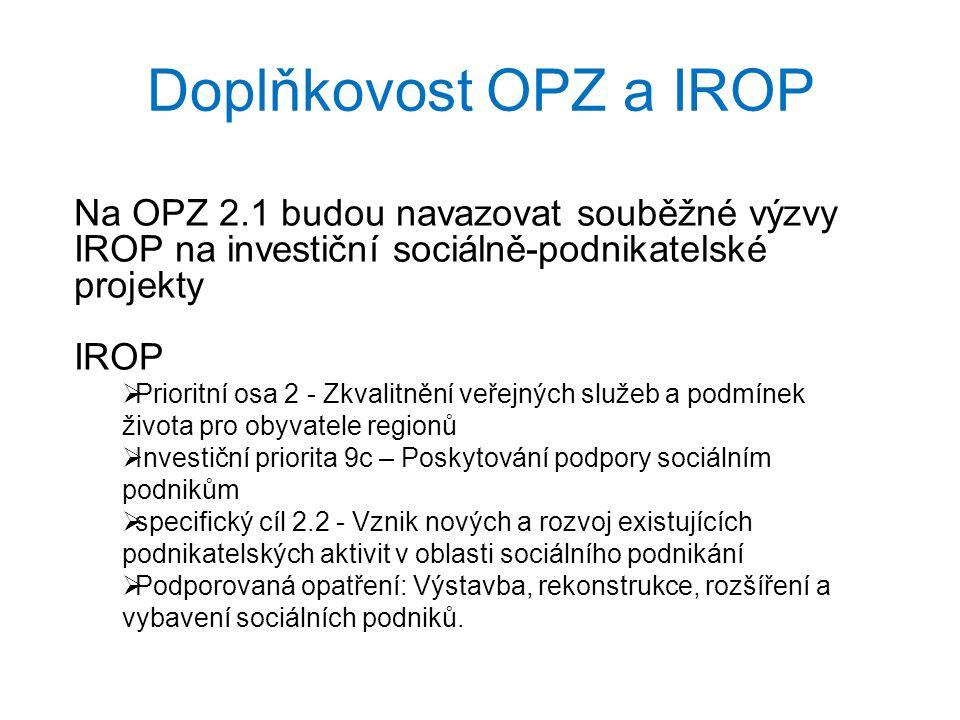 Doplňkovost OPZ a IROP Na OPZ 2.1 budou navazovat souběžné výzvy IROP na investiční sociálně-podnikatelské projekty IROP  Prioritní osa 2 - Zkvalitně