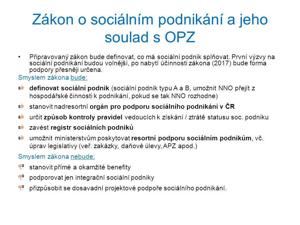 Zákon o sociálním podnikání a jeho soulad s OPZ Připravovaný zákon bude definovat, co má sociální podnik splňovat. První výzvy na sociální podnikání b