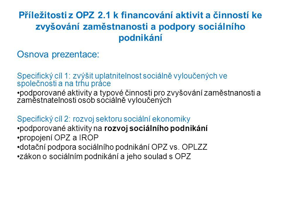 Příležitosti z OPZ 2.1 k financování aktivit a činností ke zvyšování zaměstnanosti a podpory sociálního podnikání Osnova prezentace: Specifický cíl 1: