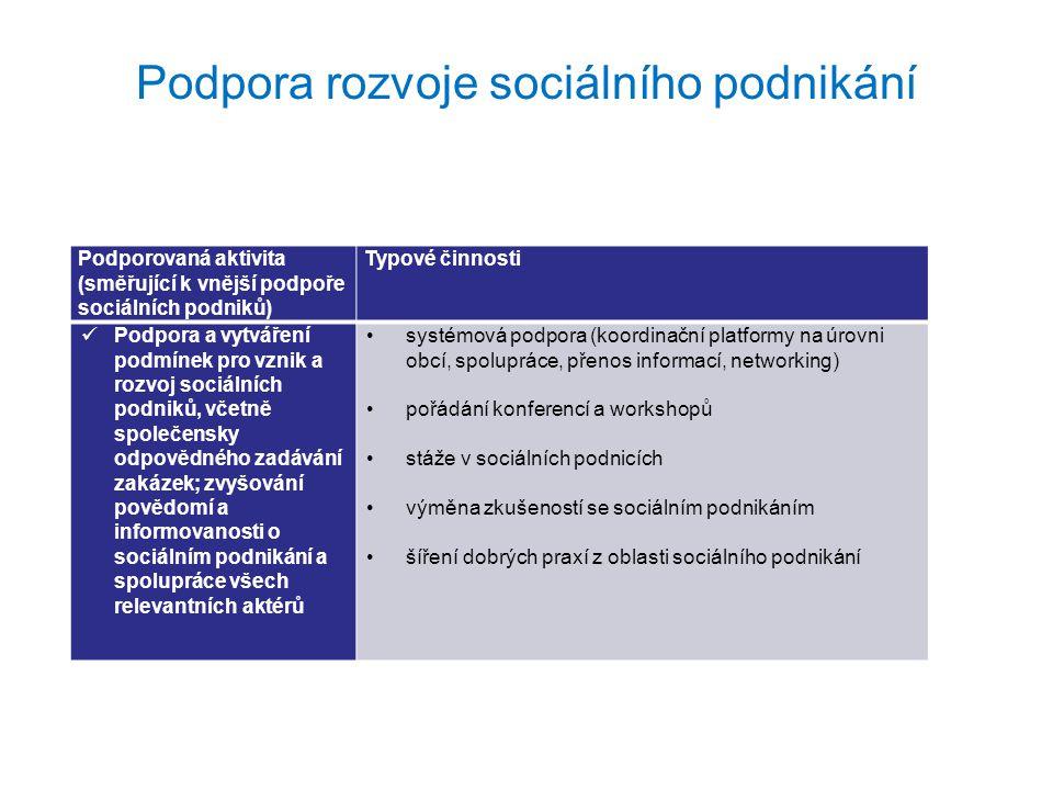 Podpora rozvoje sociálního podnikání Podporovaná aktivita (směřující k vnější podpoře sociálních podniků) Typové činnosti Podpora a vytváření podmínek