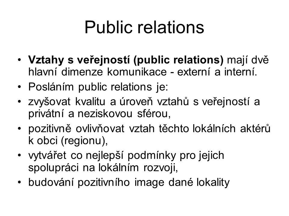 Public relations Vztahy s veřejností (public relations) mají dvě hlavní dimenze komunikace - externí a interní.