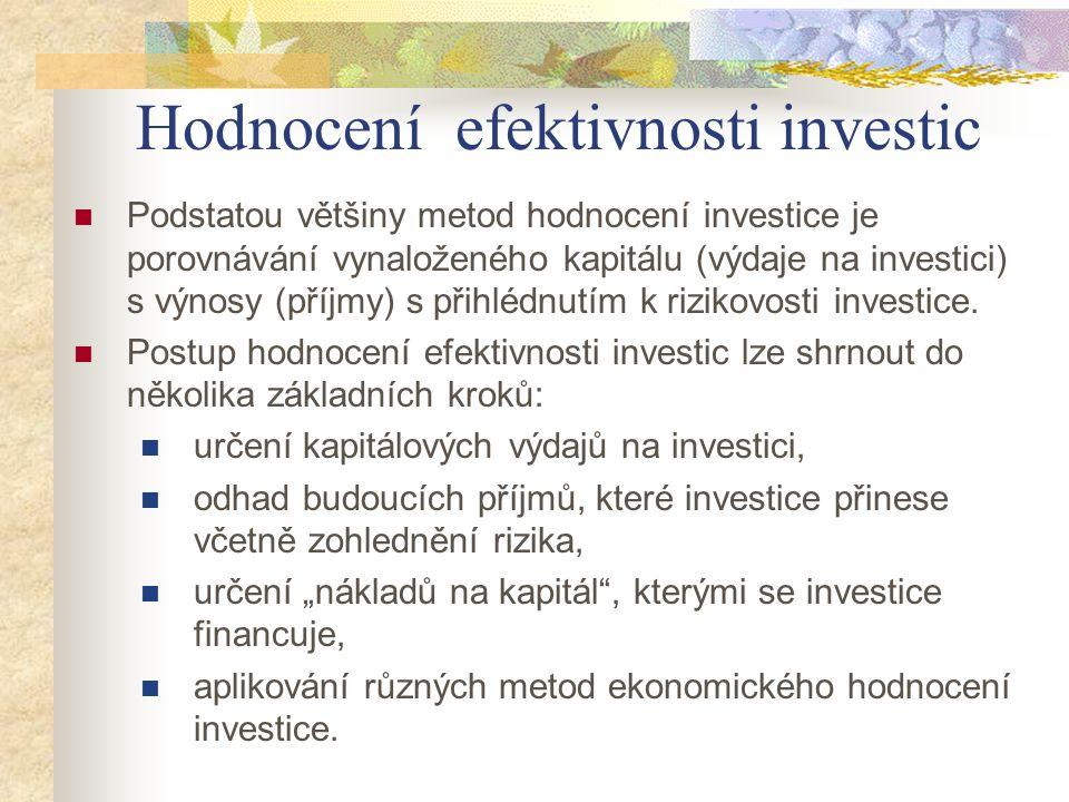Podstatou většiny metod hodnocení investice je porovnávání vynaloženého kapitálu (výdaje na investici) s výnosy (příjmy) s přihlédnutím k rizikovosti