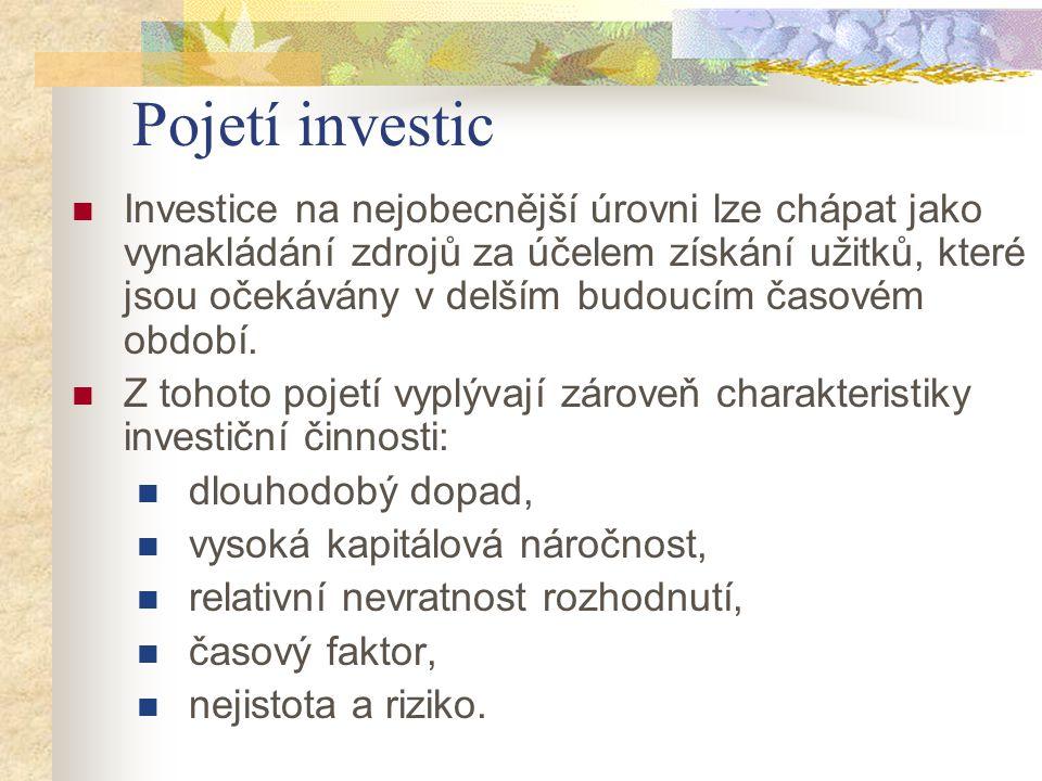 Pojetí investic Investice na nejobecnější úrovni lze chápat jako vynakládání zdrojů za účelem získání užitků, které jsou očekávány v delším budoucím č