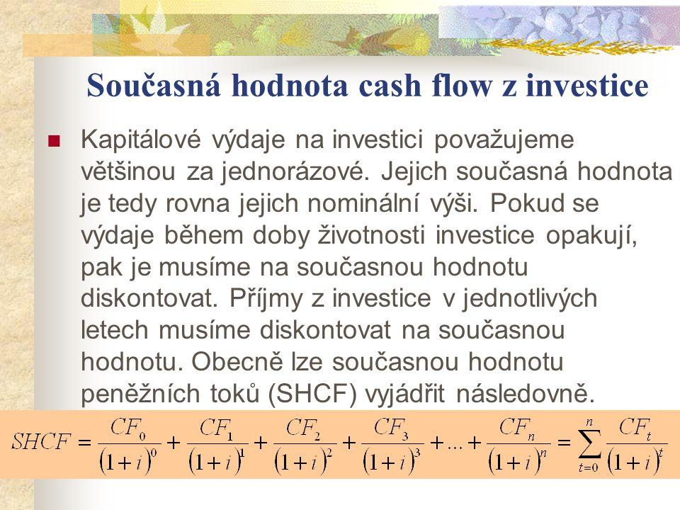 Současná hodnota cash flow z investice Kapitálové výdaje na investici považujeme většinou za jednorázové. Jejich současná hodnota je tedy rovna jejich