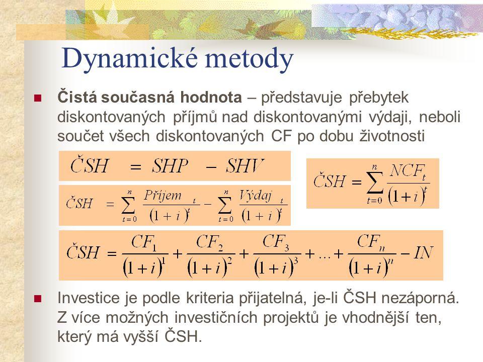 Dynamické metody Čistá současná hodnota – představuje přebytek diskontovaných příjmů nad diskontovanými výdaji, neboli součet všech diskontovaných CF