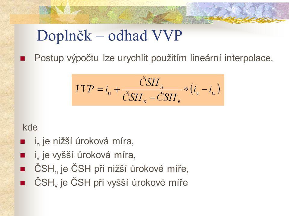 Doplněk – odhad VVP Postup výpočtu lze urychlit použitím lineární interpolace. kde i n je nižší úroková míra, i v je vyšší úroková míra, ČSH n je ČSH