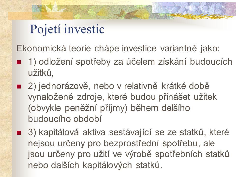 Pojetí investic Ekonomická teorie chápe investice variantně jako: 1) odložení spotřeby za účelem získání budoucích užitků, 2) jednorázově, nebo v rela