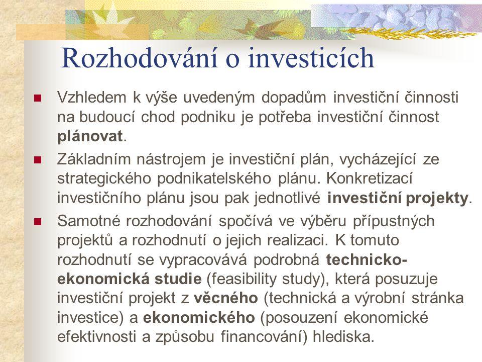Rozhodování o investicích Vzhledem k výše uvedeným dopadům investiční činnosti na budoucí chod podniku je potřeba investiční činnost plánovat. Základn