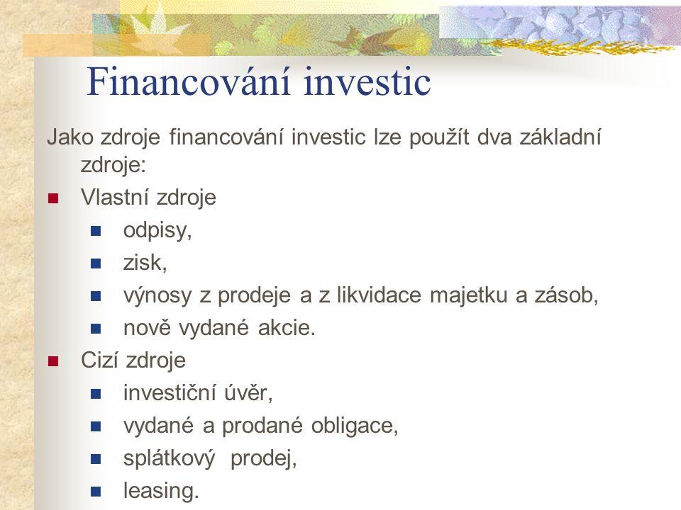Financování investic Jako zdroje financování investic lze použít dva základní zdroje: Vlastní zdroje odpisy, zisk, výnosy z prodeje a z likvidace maje