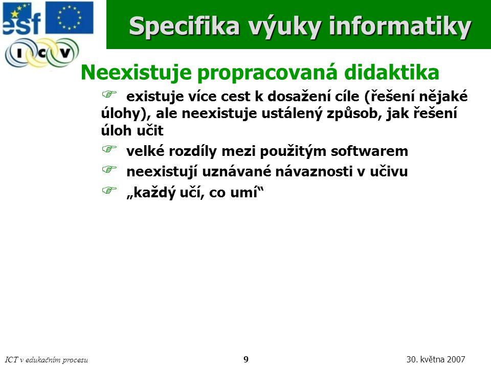 ICT v edukačním procesu2030. května 2007Závěr Děkuji za pozornost. Dotazy?