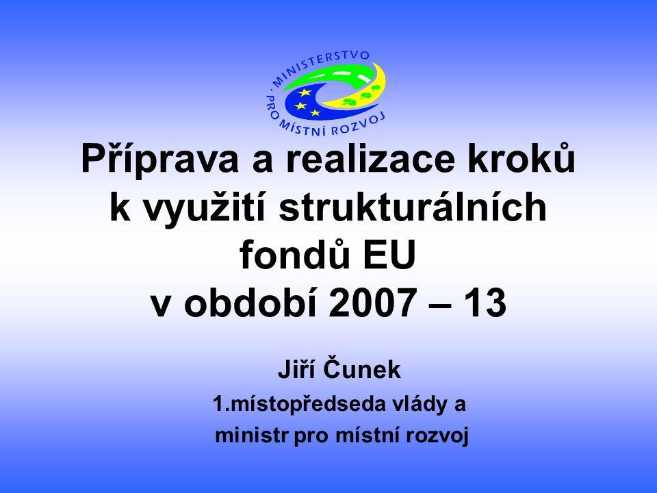 Příprava a realizace kroků k využití strukturálních fondů EU v období 2007 – 13 Jiří Čunek 1.místopředseda vlády a ministr pro místní rozvoj