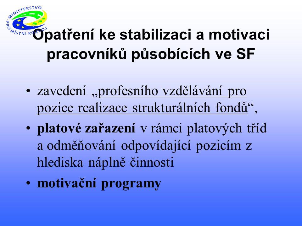 """Opatření ke stabilizaci a motivaci pracovníků působících ve SF zavedení """"profesního vzdělávání pro pozice realizace strukturálních fondů , platové zařazení v rámci platových tříd a odměňování odpovídající pozicím z hlediska náplně činnosti motivační programy"""